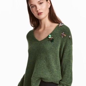 H&M Sweater with Sequien and Embellished Appliqués